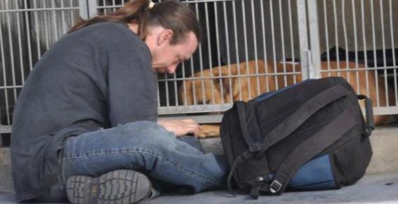Conmovedora foto de un perro y su amo