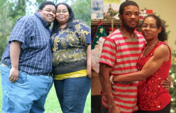 Foto increíble: en dos años pareja baja 226 kg